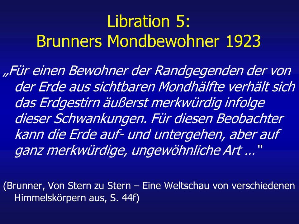 Libration 5: Brunners Mondbewohner 1923 Für einen Bewohner der Randgegenden der von der Erde aus sichtbaren Mondhälfte verhält sich das Erdgestirn äußerst merkwürdig infolge dieser Schwankungen.