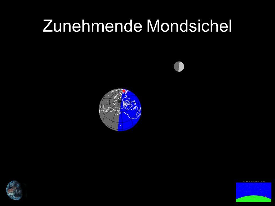 Der zunehmende Mond ist nachmittags vor Sonnenuntergang und in der ersten Nachthälfte zu sehen.