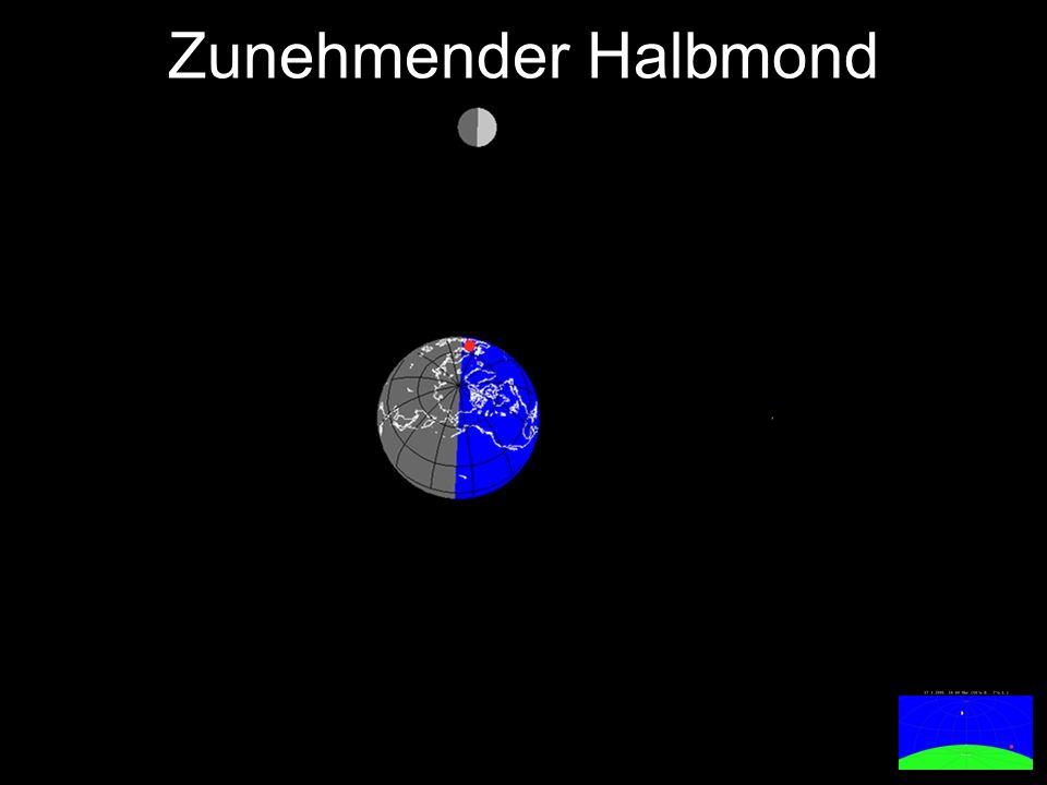 Der abnehmende Mond ist in der zweiten Nachthälfte und vormittags nach Sonnenaufgang zu sehen.