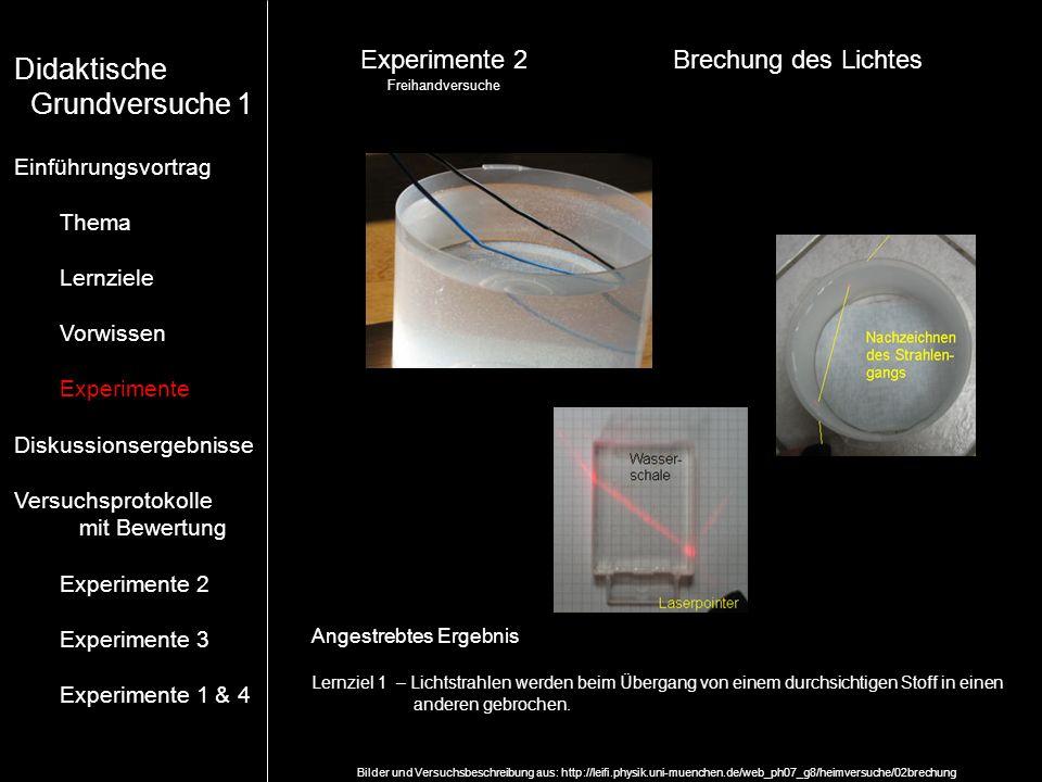 Experimente 2Brechung des Lichtes Freihandversuche Angestrebtes Ergebnis Lernziel 1 – Lichtstrahlen werden beim Übergang von einem durchsichtigen Stof