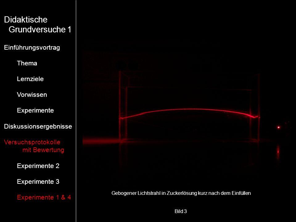Bild 3 Gebogener Lichtstrahl in Zuckerlösung kurz nach dem Einfüllen Didaktische Grundversuche 1 Einführungsvortrag Thema Lernziele Vorwissen Experime