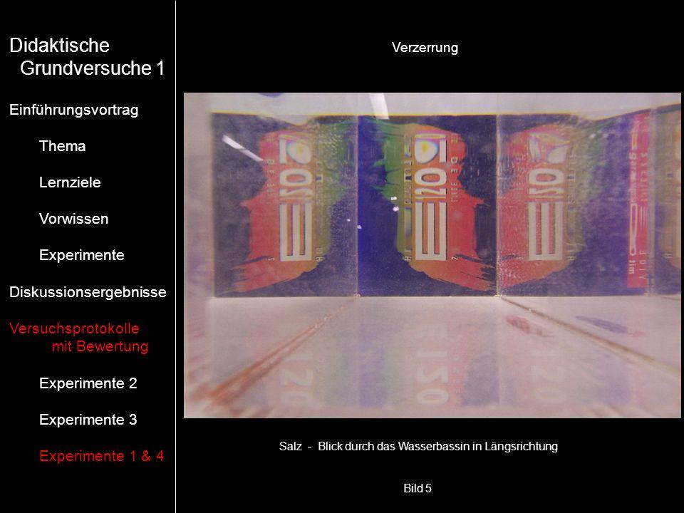 Bild 5 Salz - Blick durch das Wasserbassin in Längsrichtung Verzerrung Didaktische Grundversuche 1 Einführungsvortrag Thema Lernziele Vorwissen Experi