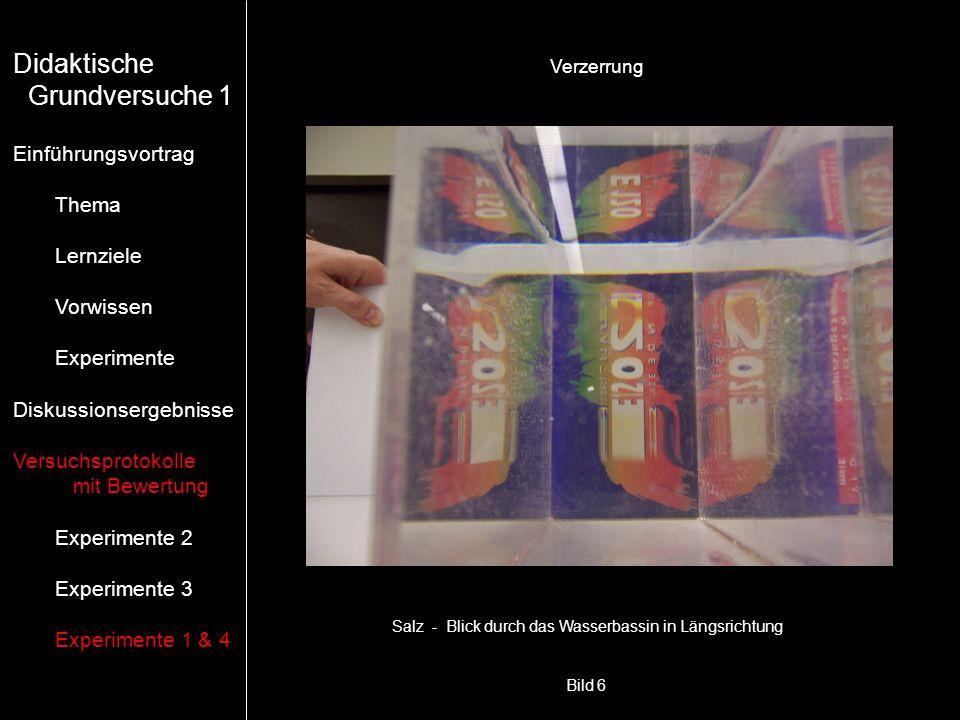 Bild 6 Verzerrung Salz - Blick durch das Wasserbassin in Längsrichtung Didaktische Grundversuche 1 Einführungsvortrag Thema Lernziele Vorwissen Experi