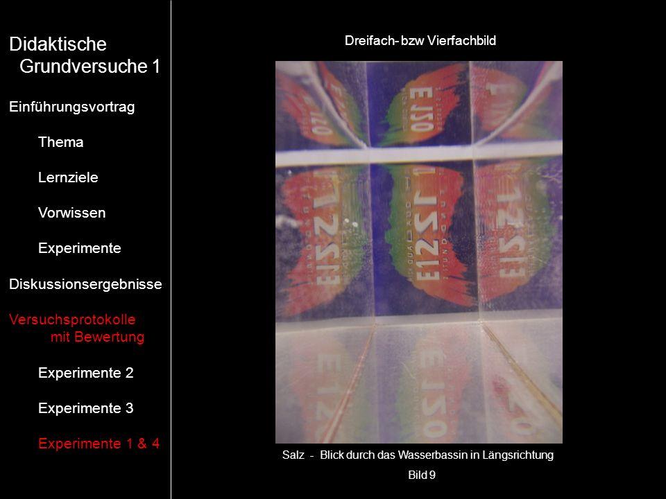 Bild 9 Salz - Blick durch das Wasserbassin in Längsrichtung Dreifach- bzw Vierfachbild Didaktische Grundversuche 1 Einführungsvortrag Thema Lernziele