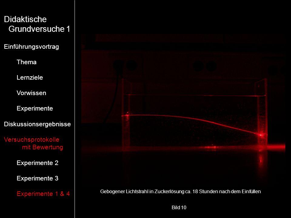 Bild 10 Gebogener Lichtstrahl in Zuckerlösung ca. 18 Stunden nach dem Einfüllen Didaktische Grundversuche 1 Einführungsvortrag Thema Lernziele Vorwiss