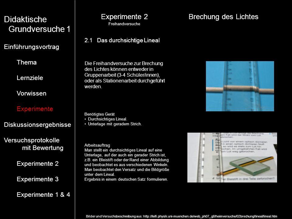 Experimente 2Brechung des Lichtes Freihandversuche Bilder und Versuchsbeschreibung aus: http://leifi.physik.uni-muenchen.de/web_ph07_g8/heimversuche/0