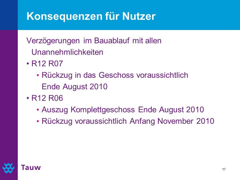 17 Konsequenzen für Nutzer Verzögerungen im Bauablauf mit allen Unannehmlichkeiten R12 R07 Rückzug in das Geschoss voraussichtlich Ende August 2010 R1