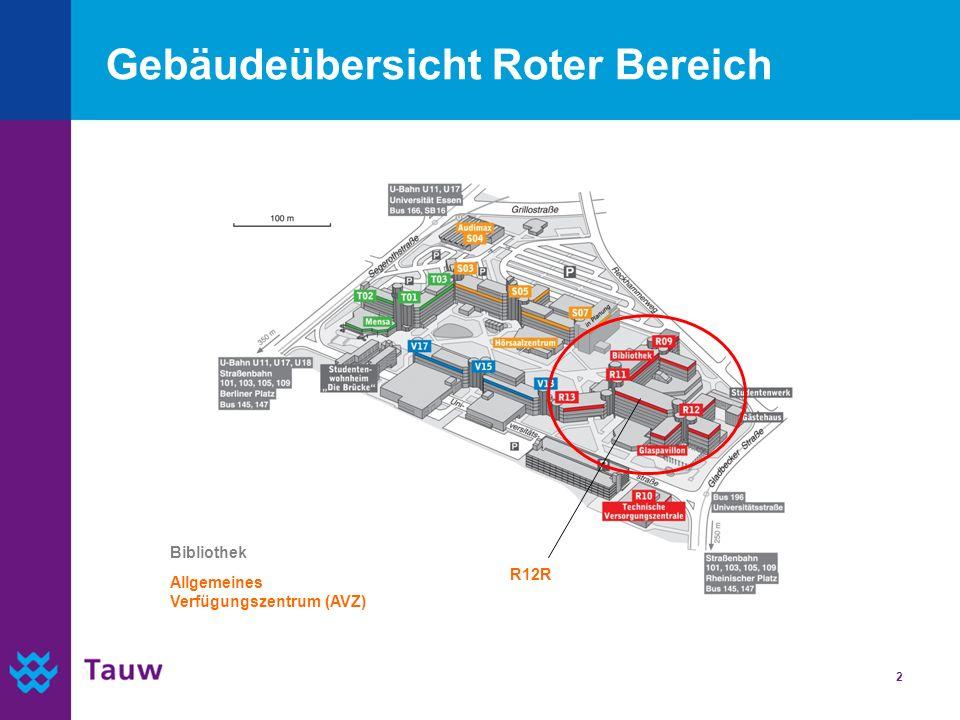 2 Gebäudeübersicht Roter Bereich R12R Allgemeines Verfügungszentrum (AVZ) Bibliothek