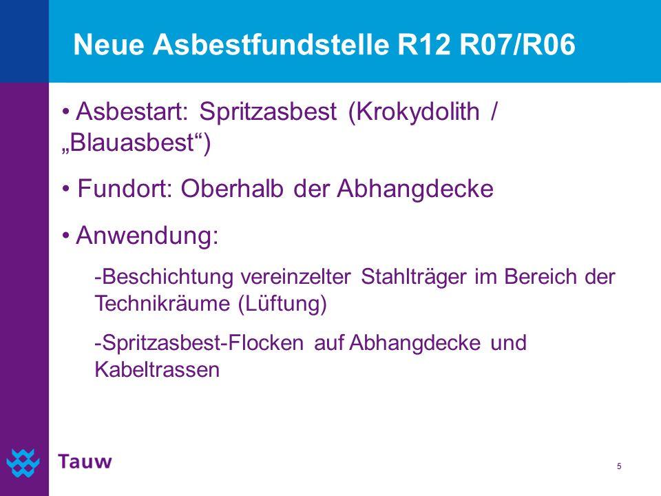 5 Neue Asbestfundstelle R12 R07/R06 Asbestart: Spritzasbest (Krokydolith / Blauasbest) Fundort: Oberhalb der Abhangdecke Anwendung: -Beschichtung vere