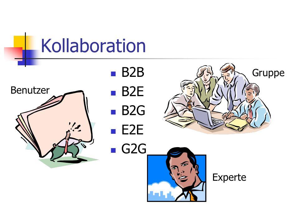 Kollaboration Gruppe Experte Benutzer B2B B2E B2G E2E G2G