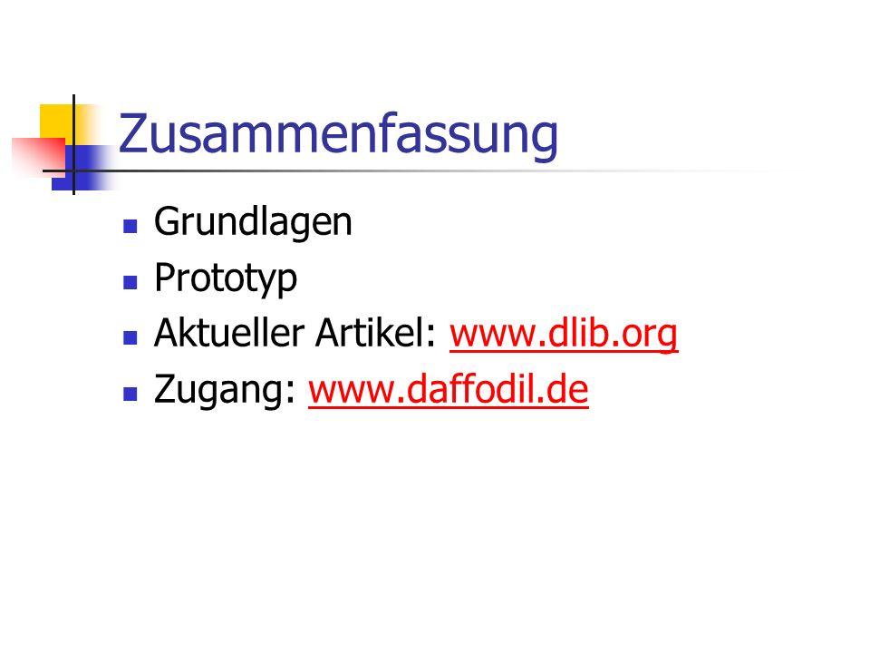 Zusammenfassung Grundlagen Prototyp Aktueller Artikel: www.dlib.orgwww.dlib.org Zugang: www.daffodil.dewww.daffodil.de