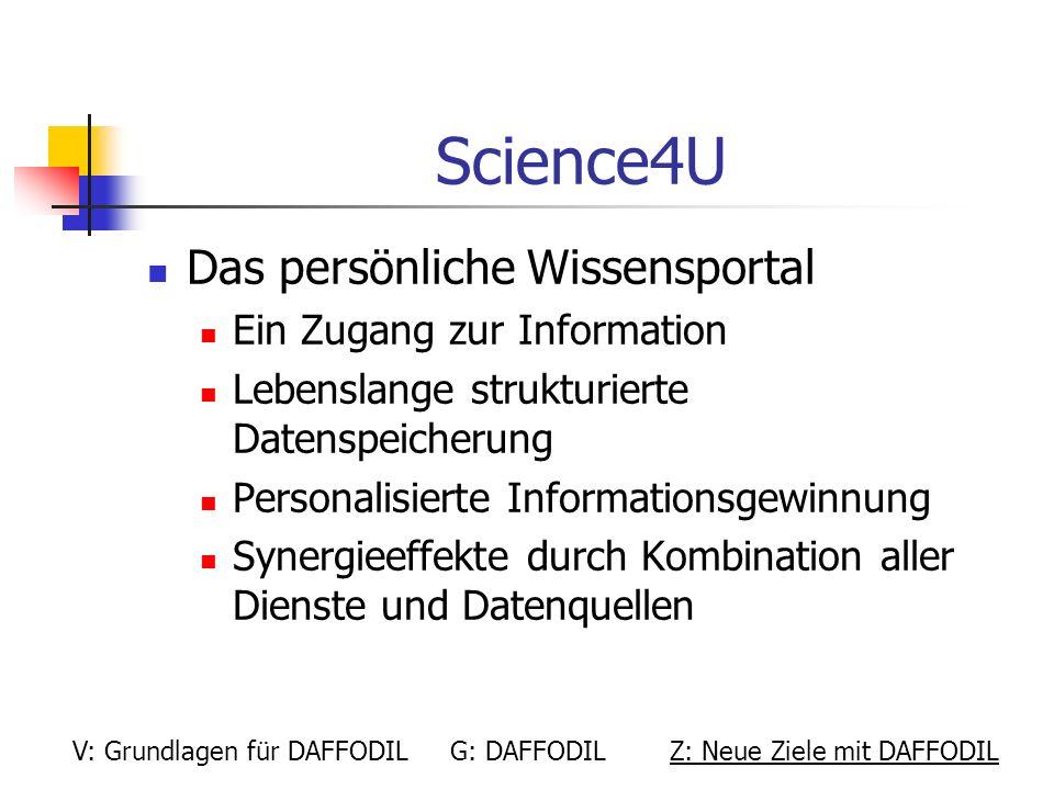 Science4U Das persönliche Wissensportal Ein Zugang zur Information Lebenslange strukturierte Datenspeicherung Personalisierte Informationsgewinnung Sy