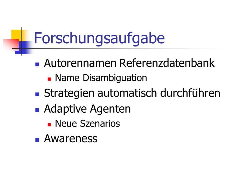Forschungsaufgabe Autorennamen Referenzdatenbank Name Disambiguation Strategien automatisch durchführen Adaptive Agenten Neue Szenarios Awareness