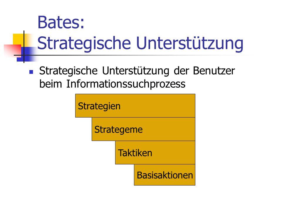 Taktiken Anfrageformulierungs-Taktiken Erweiterung; Einschränkung der Anfrage Beobachtungs-Taktiken Dead-End-Erkennung/Behebung zu viele Antworten zu wenige Antworten Ideen-Taktiken Auffinden von produktiven, noch ausgelassenen Pfaden