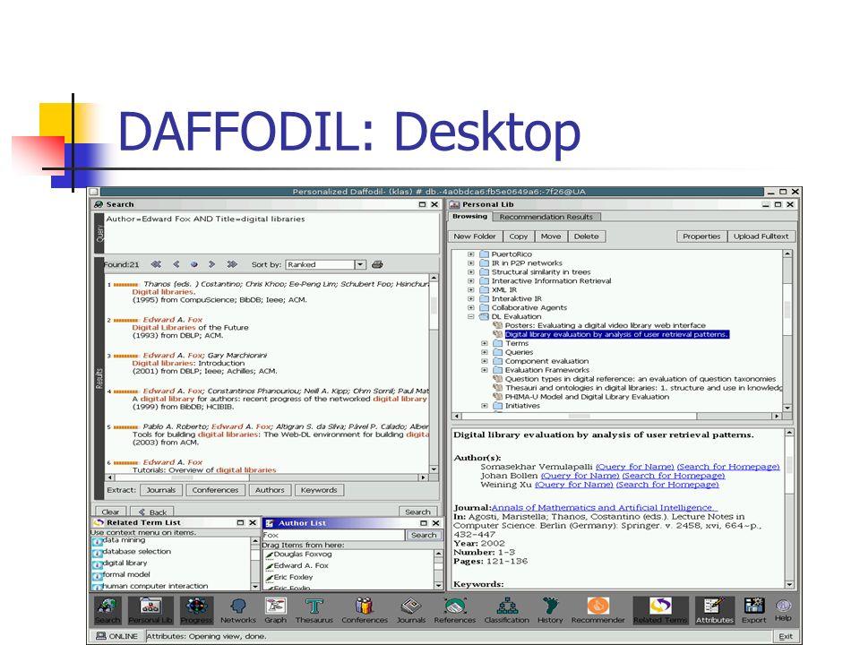 Weiterentwicklung von D AFFODIL Neue Fachgebiete: Neue Objekte BSP.: Biologie / Chemie Rechteverwaltung aus Anbietersicht aus Benutzersicht Skalierbarkeit (Anzahl Benutzer) Benutzeroberfläche: Web-Client vs.