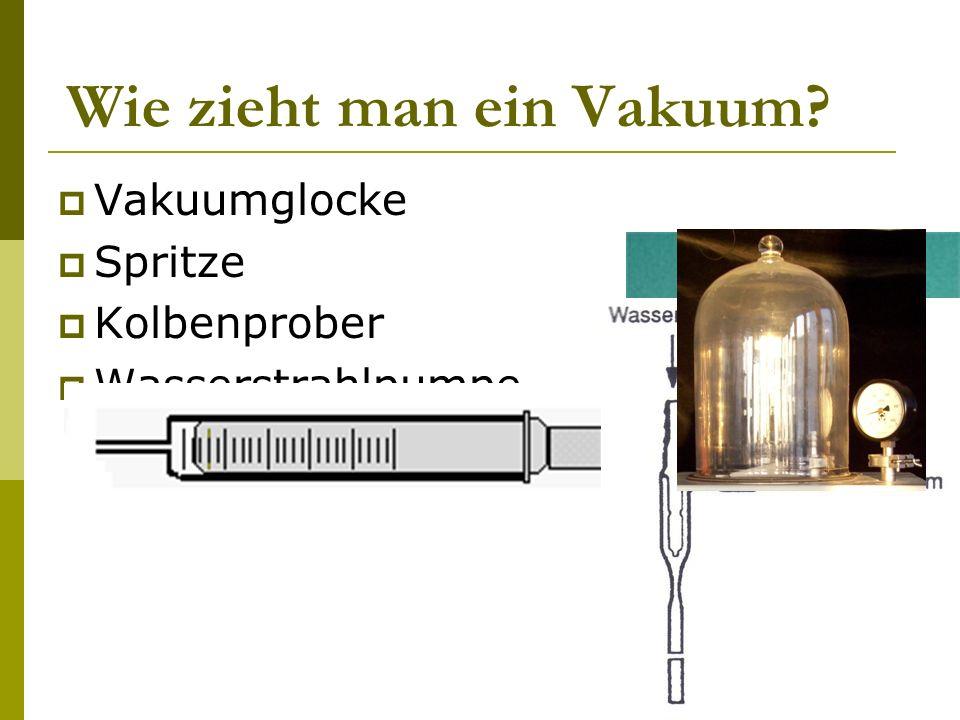 Wie zieht man ein Vakuum? Vakuumglocke Spritze Kolbenprober Wasserstrahlpumpe
