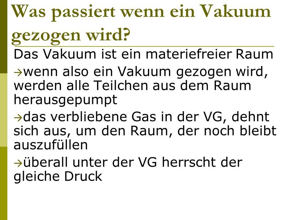 Was passiert wenn ein Vakuum gezogen wird? Das Vakuum ist ein materiefreier Raum wenn also ein Vakuum gezogen wird, werden alle Teilchen aus dem Raum