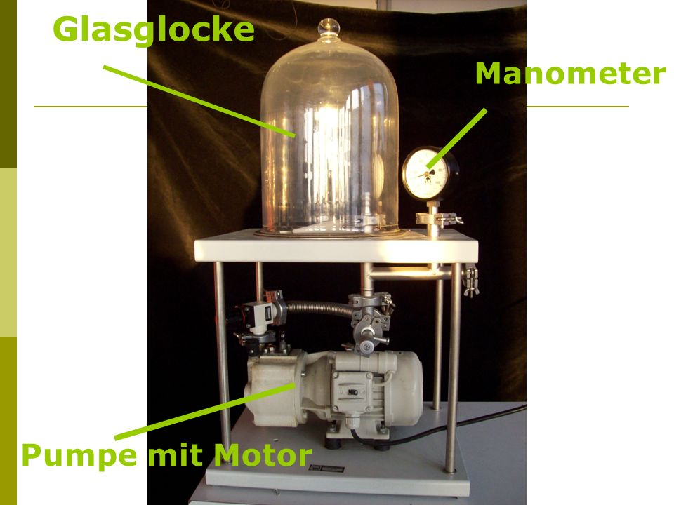 Glasglocke Manometer Pumpe mit Motor