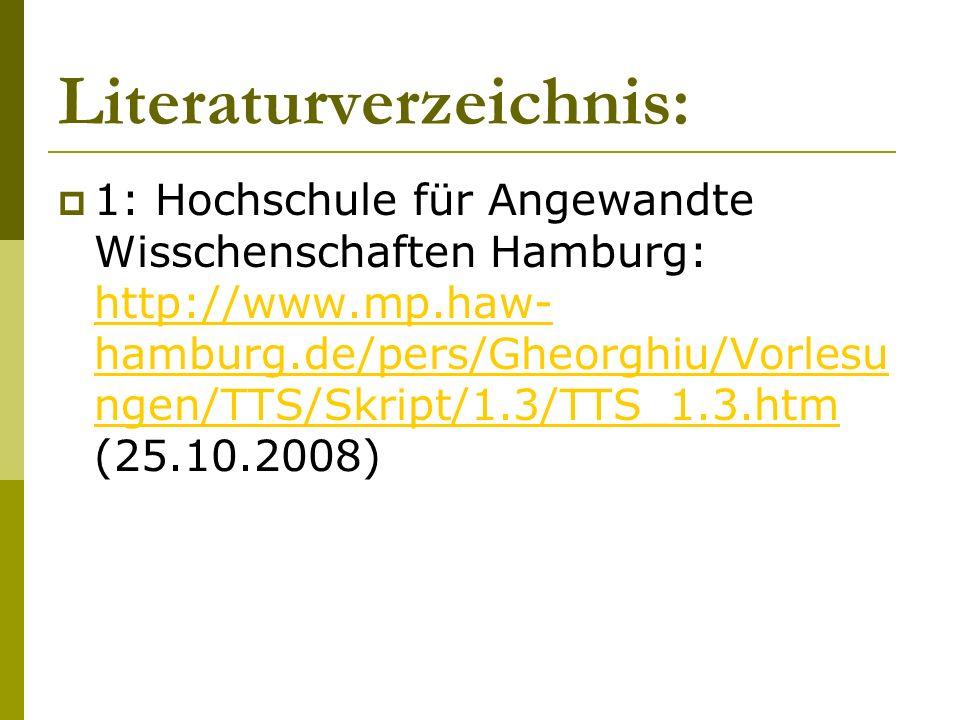 Literaturverzeichnis: 1: Hochschule für Angewandte Wisschenschaften Hamburg: http://www.mp.haw- hamburg.de/pers/Gheorghiu/Vorlesu ngen/TTS/Skript/1.3/
