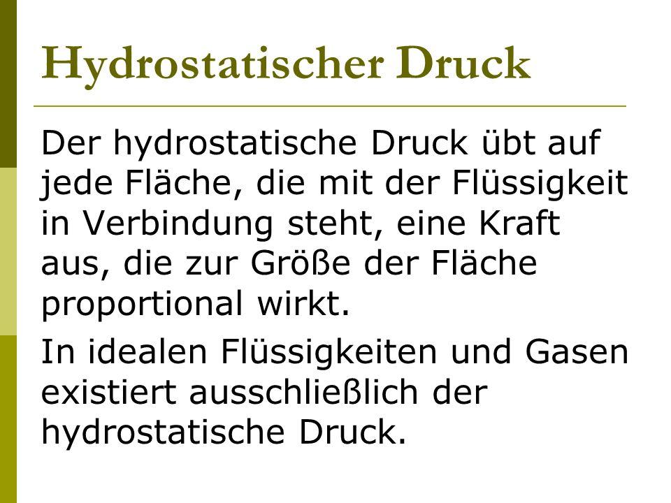 Hydrostatischer Druck Der hydrostatische Druck übt auf jede Fläche, die mit der Flüssigkeit in Verbindung steht, eine Kraft aus, die zur Größe der Flä