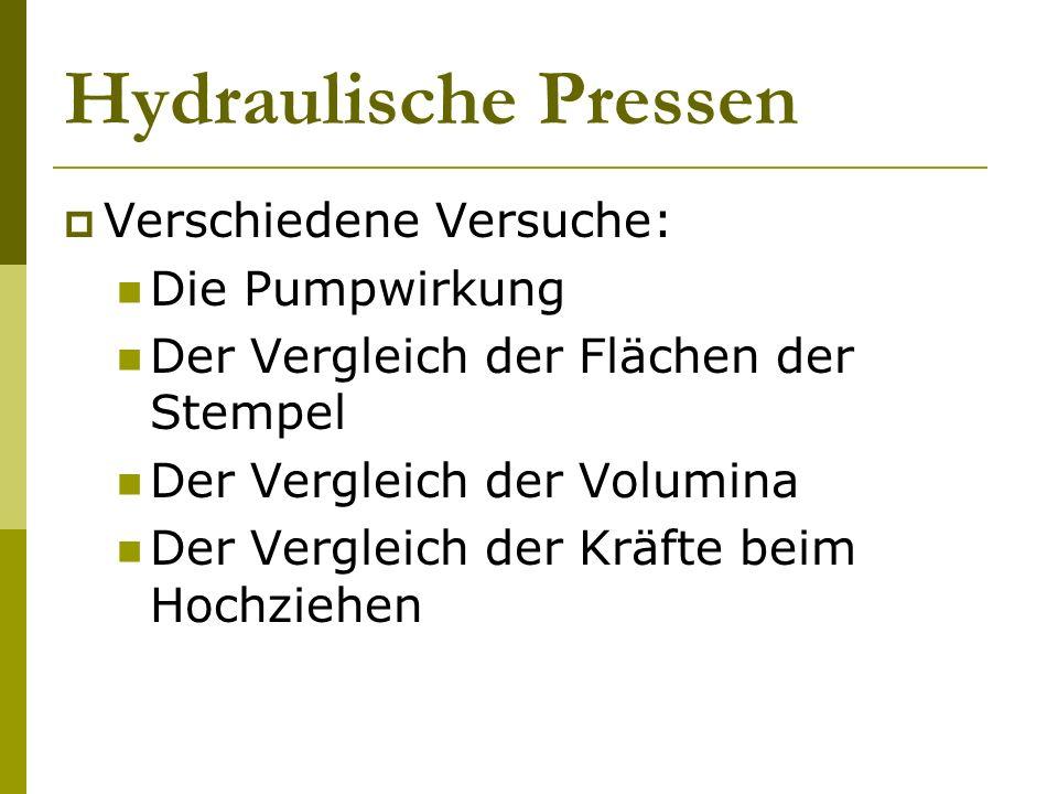 Hydraulische Pressen Verschiedene Versuche: Die Pumpwirkung Der Vergleich der Flächen der Stempel Der Vergleich der Volumina Der Vergleich der Kräfte
