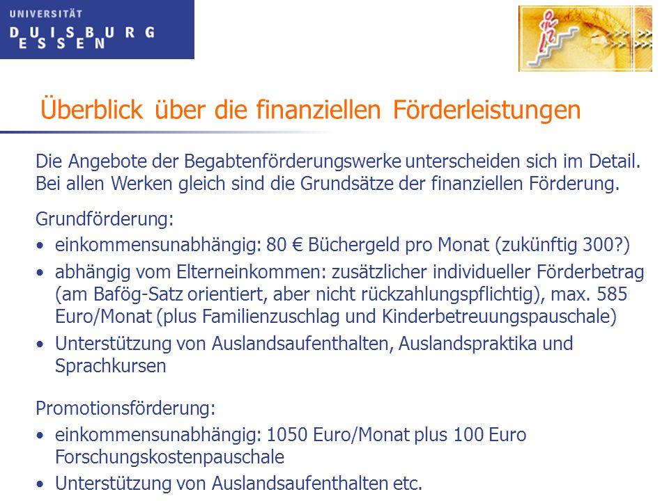 Überblick über die finanziellen Förderleistungen Promotionsförderung: einkommensunabhängig: 1050 Euro/Monat plus 100 Euro Forschungskostenpauschale Un
