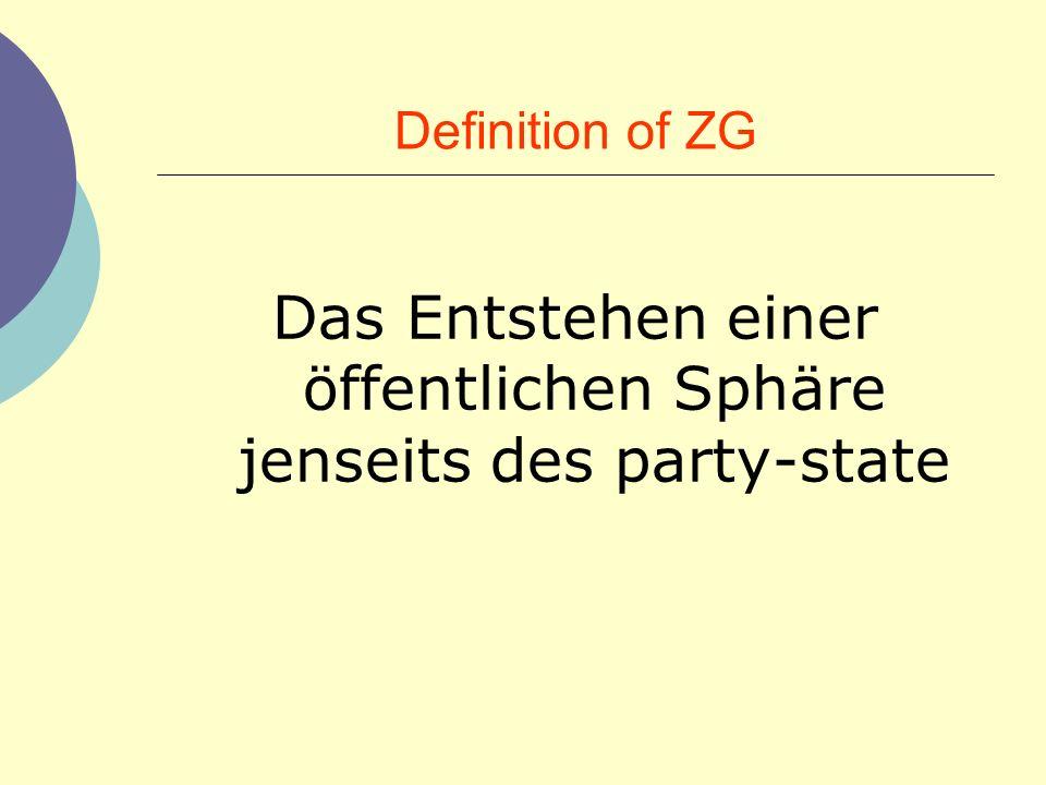 Definition of ZG Das Entstehen einer öffentlichen Sphäre jenseits des party-state