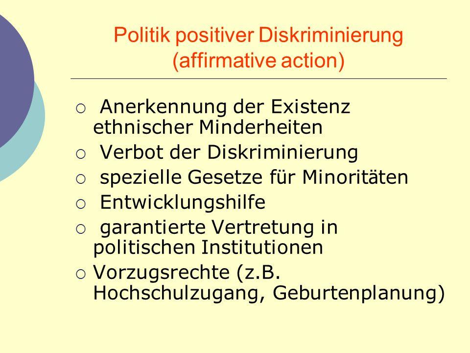 Politik positiver Diskriminierung (affirmative action) Anerkennung der Existenz ethnischer Minderheiten Verbot der Diskriminierung spezielle Gesetze f