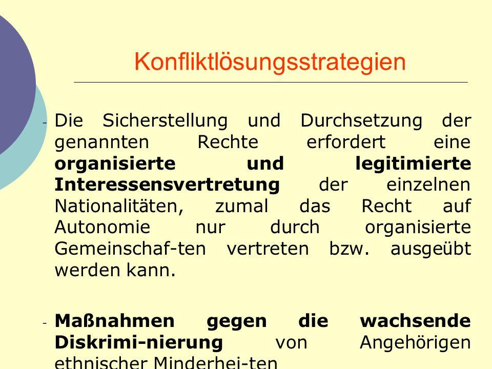 Konfliktl ö sungsstrategien - Die Sicherstellung und Durchsetzung der genannten Rechte erfordert eine organisierte und legitimierte Interessensvertret