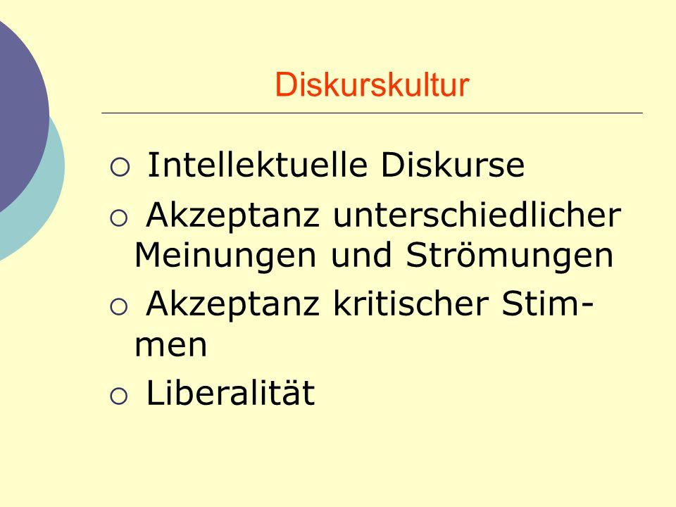 Diskurskultur Intellektuelle Diskurse Akzeptanz unterschiedlicher Meinungen und Strömungen Akzeptanz kritischer Stim- men Liberalität