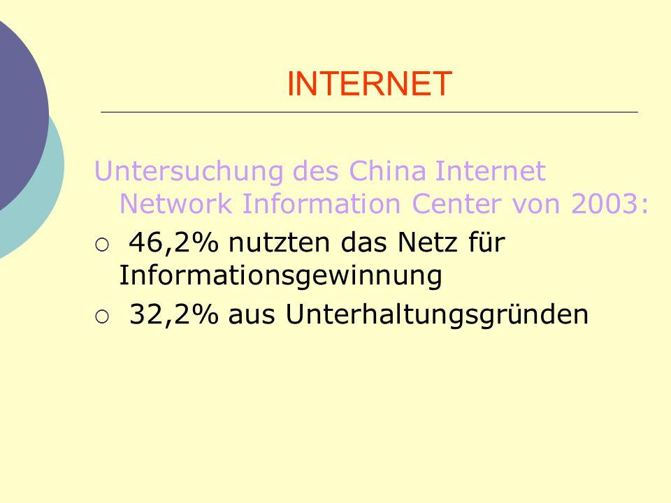 INTERNET Untersuchung des China Internet Network Information Center von 2003: 46,2% nutzten das Netz f ü r Informationsgewinnung 32,2% aus Unterhaltun