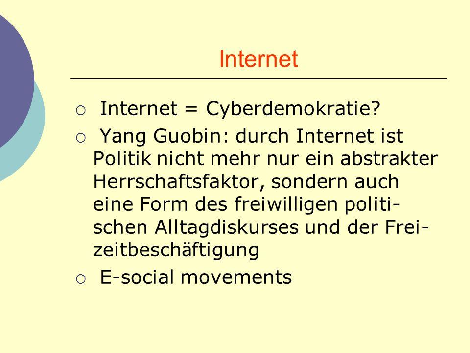 Internet Internet = Cyberdemokratie? Yang Guobin: durch Internet ist Politik nicht mehr nur ein abstrakter Herrschaftsfaktor, sondern auch eine Form d