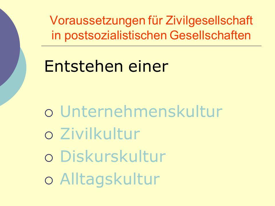 UNTERNEHMENS- KULTUR ZIVIL- KULTUR DISKURS- KULTUR ALLTAGS- KULTUR Wirtschaft Gemeinwesen Gesell.