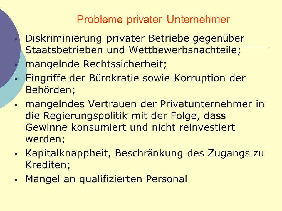 Probleme privater Unternehmer Diskriminierung privater Betriebe gegen ü ber Staatsbetrieben und Wettbewerbsnachteile; mangelnde Rechtssicherheit; Eing