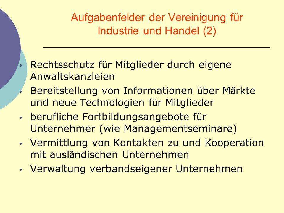 Aufgabenfelder der Vereinigung f ü r Industrie und Handel (2) Rechtsschutz f ü r Mitglieder durch eigene Anwaltskanzleien Bereitstellung von Informati
