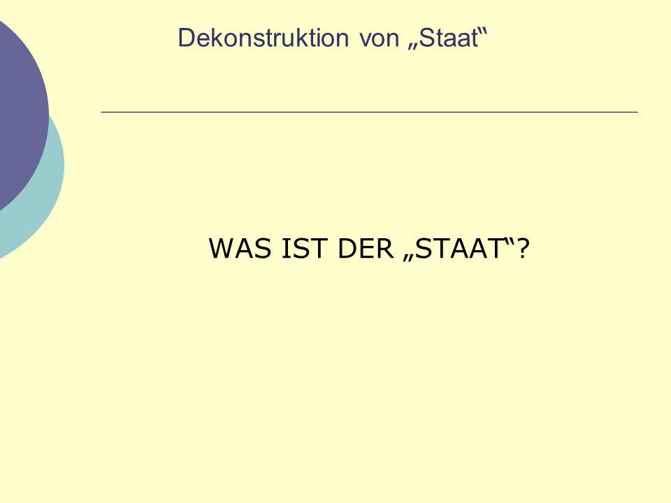 Dekonstruktion von Staat WAS IST DER STAAT ?