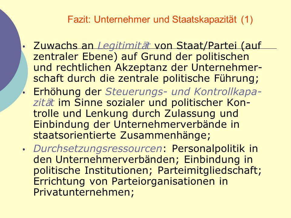 Fazit: Unternehmer und Staatskapazit ä t (1) Zuwachs an Legitimit ä t von Staat/Partei (auf zentraler Ebene) auf Grund der politischen und rechtlichen