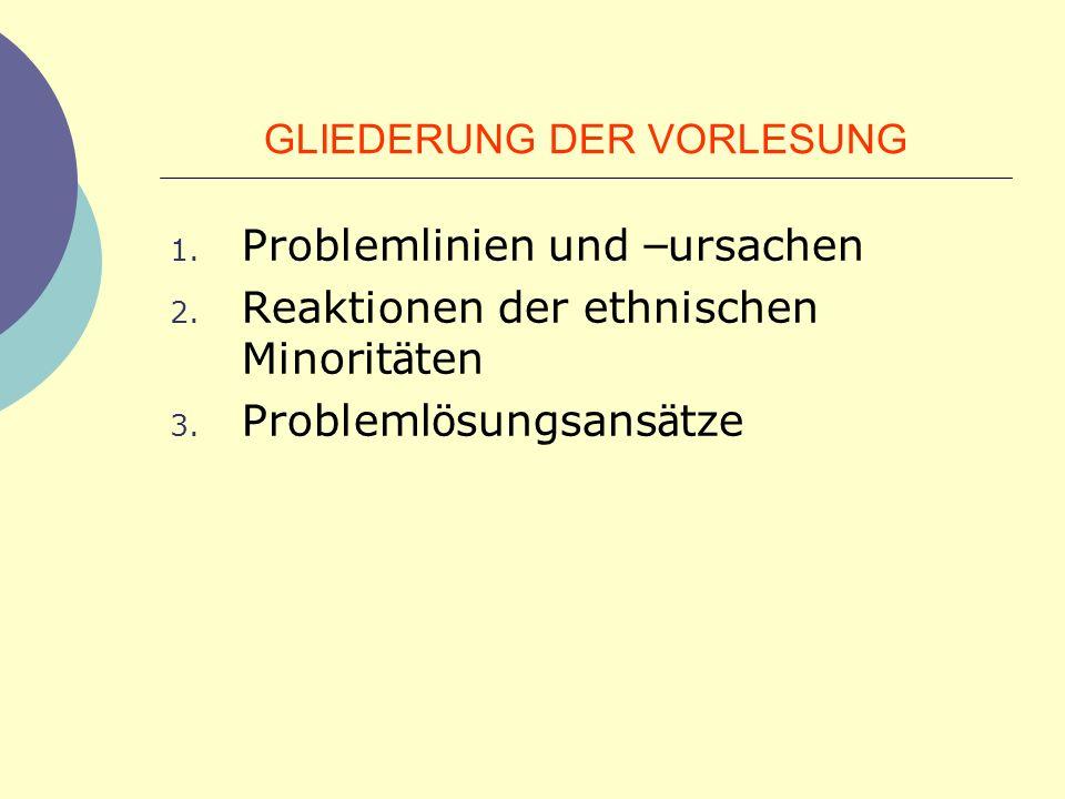 GLIEDERUNG DER VORLESUNG 1. Problemlinien und – ursachen 2. Reaktionen der ethnischen Minorit ä ten 3. Probleml ö sungsans ä tze