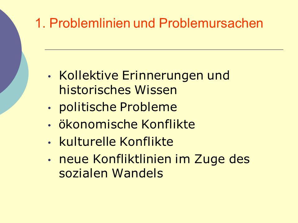 1. Problemlinien und Problemursachen Kollektive Erinnerungen und historisches Wissen politische Probleme ö konomische Konflikte kulturelle Konflikte n