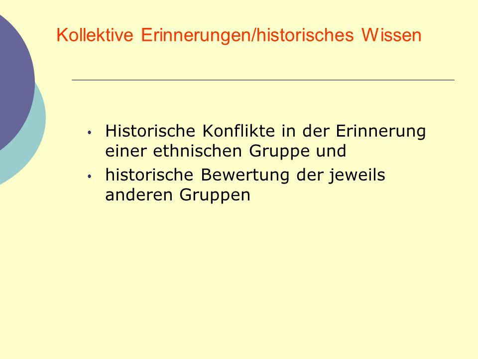 Kollektive Erinnerungen/historisches Wissen Historische Konflikte in der Erinnerung einer ethnischen Gruppe und historische Bewertung der jeweils ande