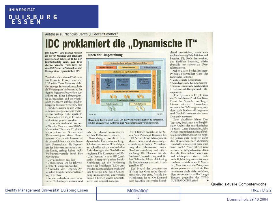 Identity Management Universität Duisburg EssenHRZ / D 2.2 Bommerholz 29.10.2004 4 Dynamische IT Quelle: aktuelle Computerwoche