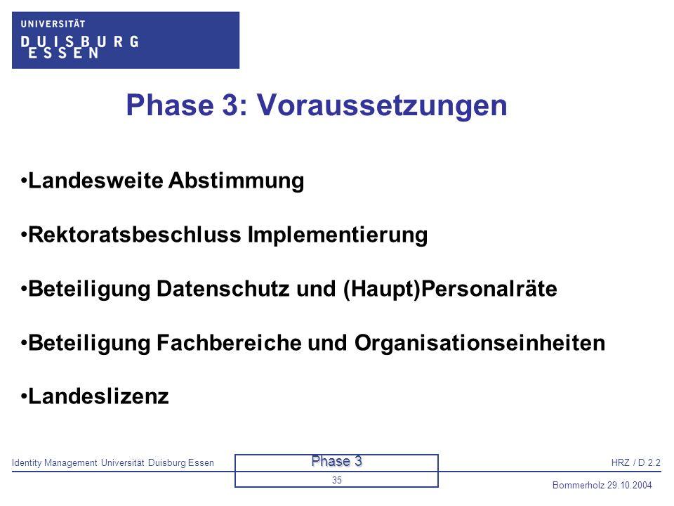 Identity Management Universität Duisburg EssenHRZ / D 2.2 Bommerholz 29.10.2004 36 Vorgehensmodell Phase 1: Grobkonzept Phase 2: Feinkonzept Phase 3: Schaffung der Voraussetzungen für die Implementierung Phase 4: Implementierung Phasenmodell