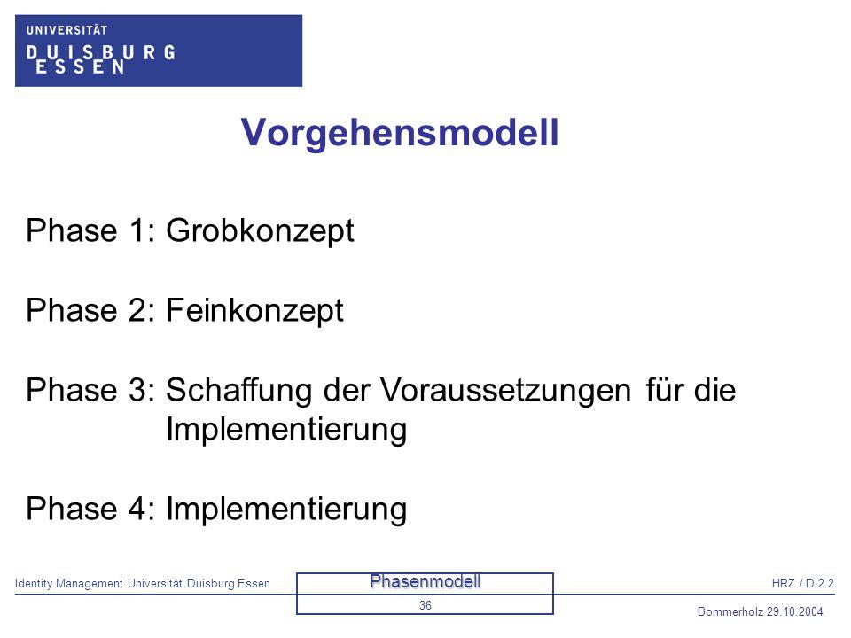 Identity Management Universität Duisburg EssenHRZ / D 2.2 Bommerholz 29.10.2004 37 Danksagung Für die Nutzung von Folien IBM Herr Nastoll /HRZ