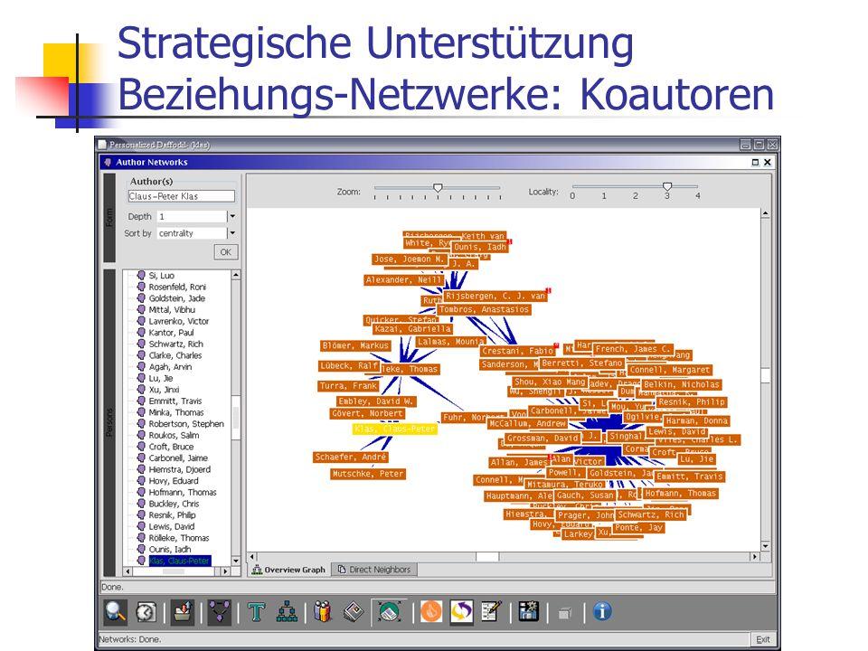 30.09.2004Universität Duisburg-Essen Strategische Unterstützung Beziehungs-Netzwerke: Koautoren