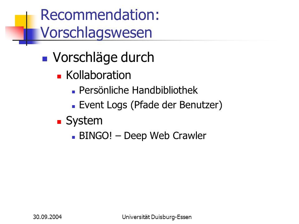 30.09.2004Universität Duisburg-Essen Recommendation: Vorschlagswesen Vorschläge durch Kollaboration Persönliche Handbibliothek Event Logs (Pfade der B