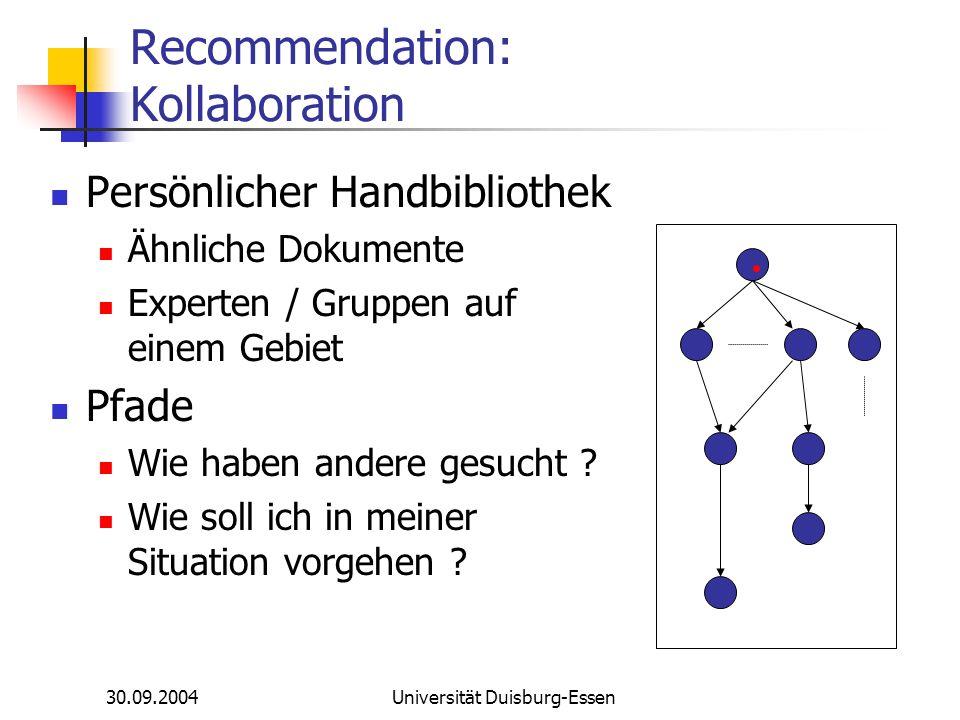 30.09.2004Universität Duisburg-Essen Recommendation: Kollaboration Persönlicher Handbibliothek Ähnliche Dokumente Experten / Gruppen auf einem Gebiet