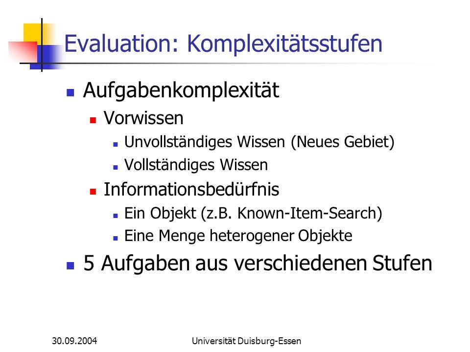 30.09.2004Universität Duisburg-Essen Evaluation: Komplexitätsstufen Aufgabenkomplexität Vorwissen Unvollständiges Wissen (Neues Gebiet) Vollständiges