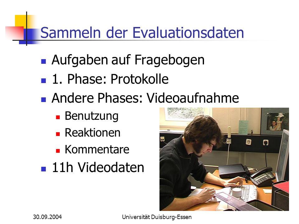 30.09.2004Universität Duisburg-Essen Sammeln der Evaluationsdaten Aufgaben auf Fragebogen 1. Phase: Protokolle Andere Phases: Videoaufnahme Benutzung