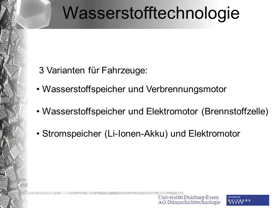 Universität Duisburg-Essen AG Dünnschichttechnologie Wasserstofftechnologie 3 Varianten für Fahrzeuge: Wasserstoffspeicher und Verbrennungsmotor Wasserstoffspeicher und Elektromotor (Brennstoffzelle) Stromspeicher (Li-Ionen-Akku) und Elektromotor