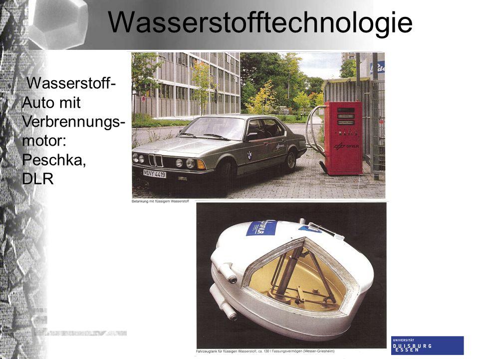 Universität Duisburg-Essen AG Dünnschichttechnologie Wasserstofftechnologie Wasserstoff- Auto mit Verbrennungs- motor: Peschka, DLR